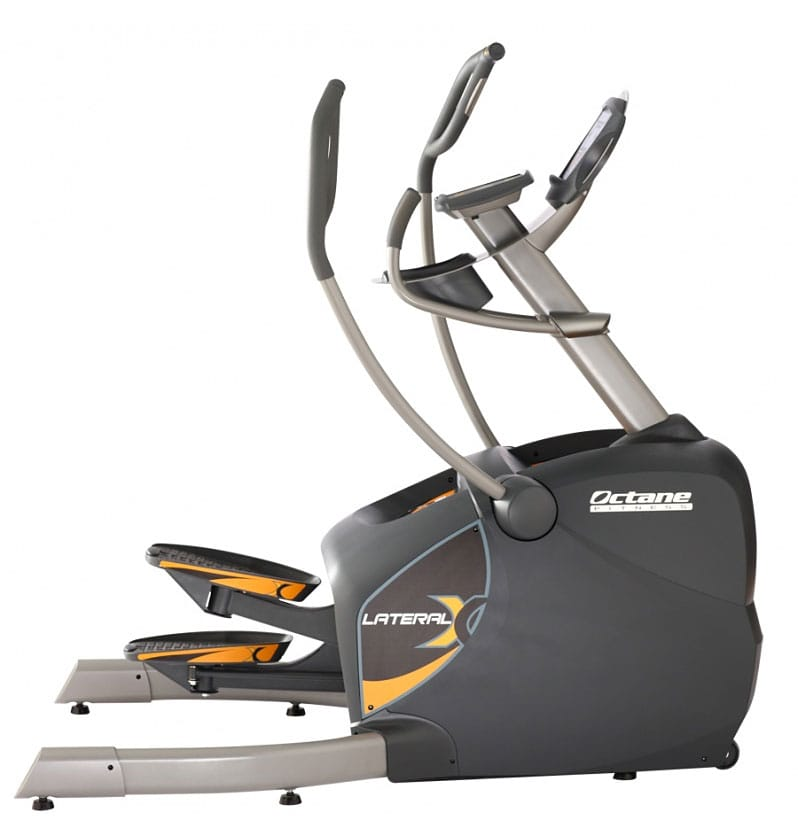 Octane LX8000 Elliptical has two sets of hand grips yellow highlighted pedals