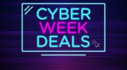 Pink and Teal Cyber Monday Banner that has neon lights and a little click icon.